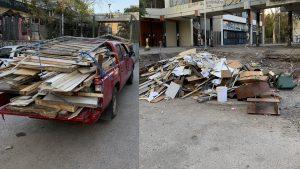 Captaron a camionetas de Carabineros botando escombros cerca de Plaza Italia y Municipalidad de Santiago anunció multas