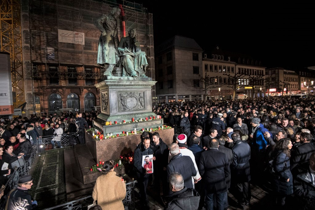 Manifestación en rechazo al ataque terrorista en Hanau