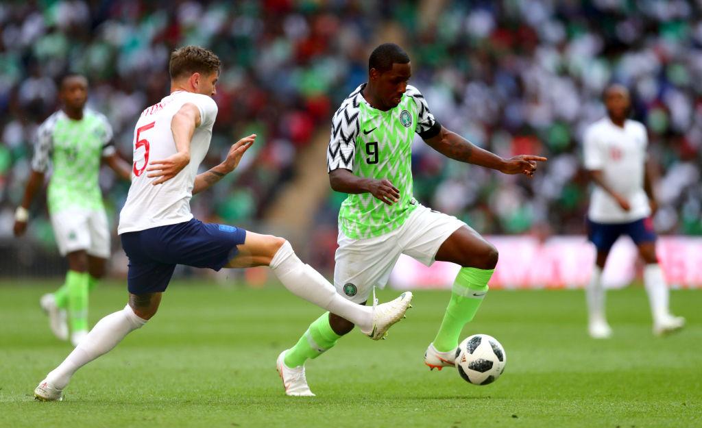 Ighalo defendiendo a Nigeria en el Mundial de Rusia 2018