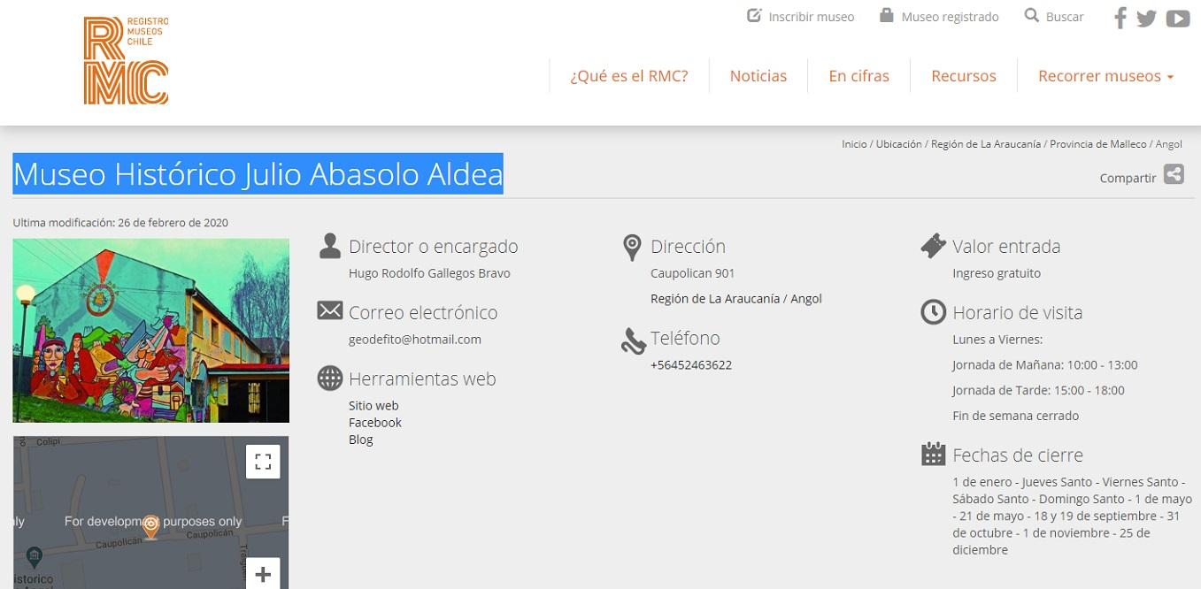 Registro del RMC de museo de Angol