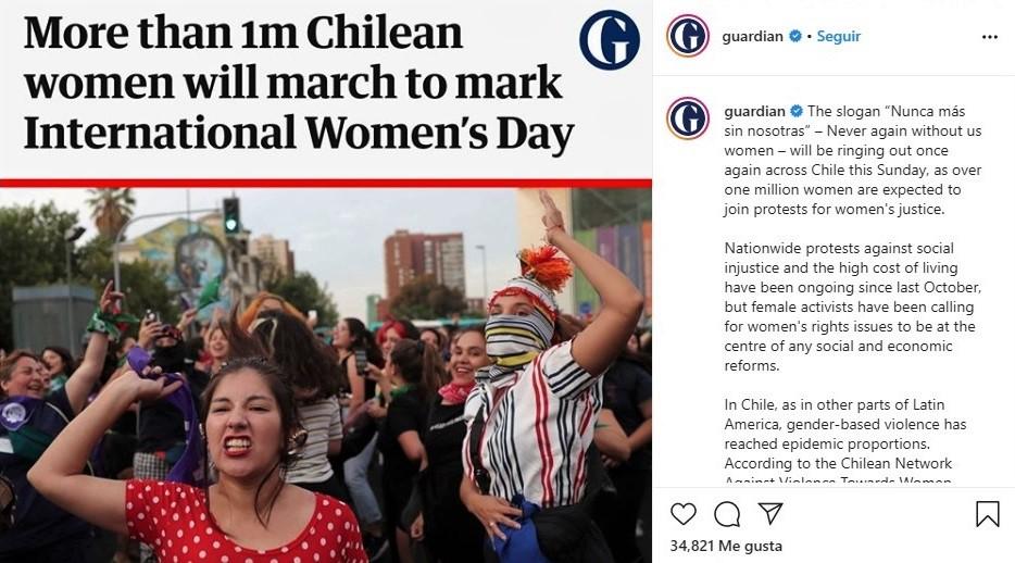 Publicación del diario británico The Guardian sobre el 8M en Chile