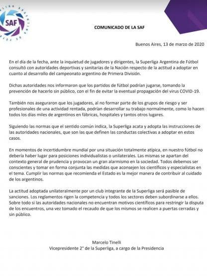 Comunicado Argentina