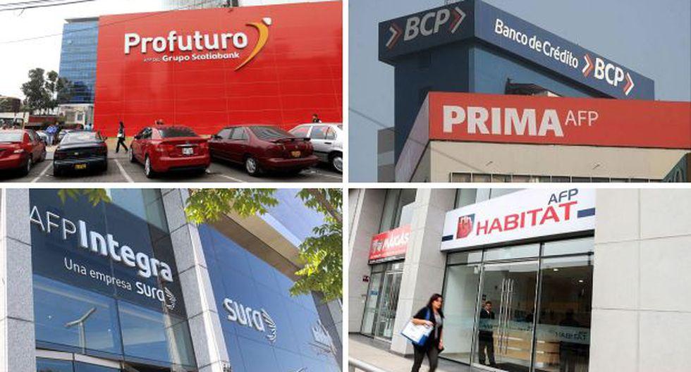 Las cuatro empresas de AFP que operan en Perú