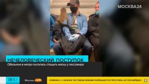 Mono se hace viral por intentar robarle la mascarilla a un usuario del metro en Rusia