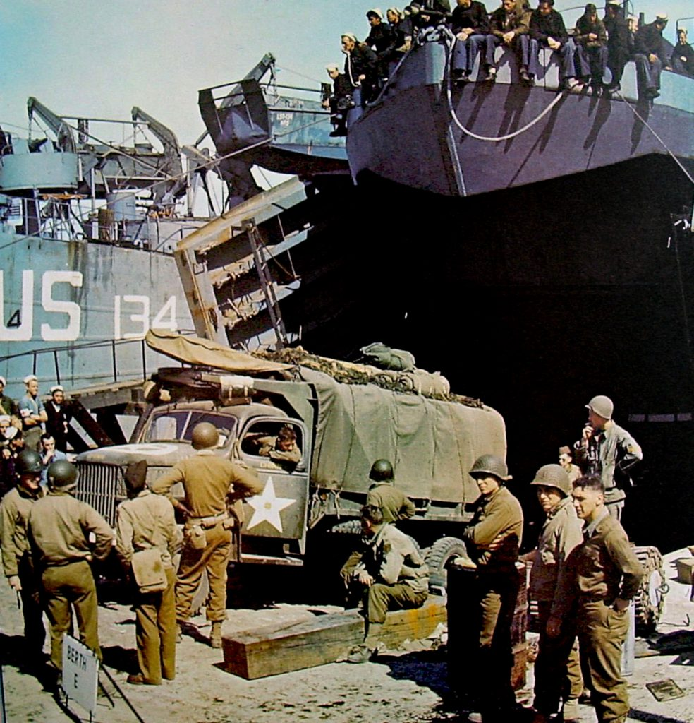 US Navy Landing craft in England during the D-Day Invasion.