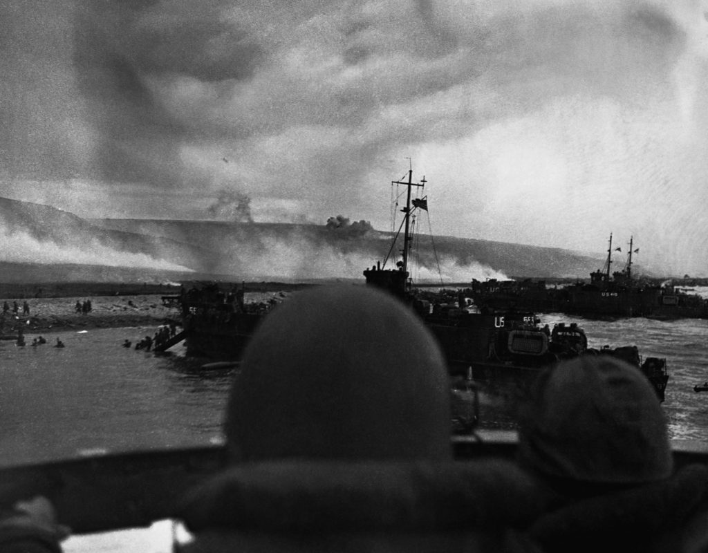 Landing troops at Omaha Beach, Normandy, France, on D-day as Allies invade France.