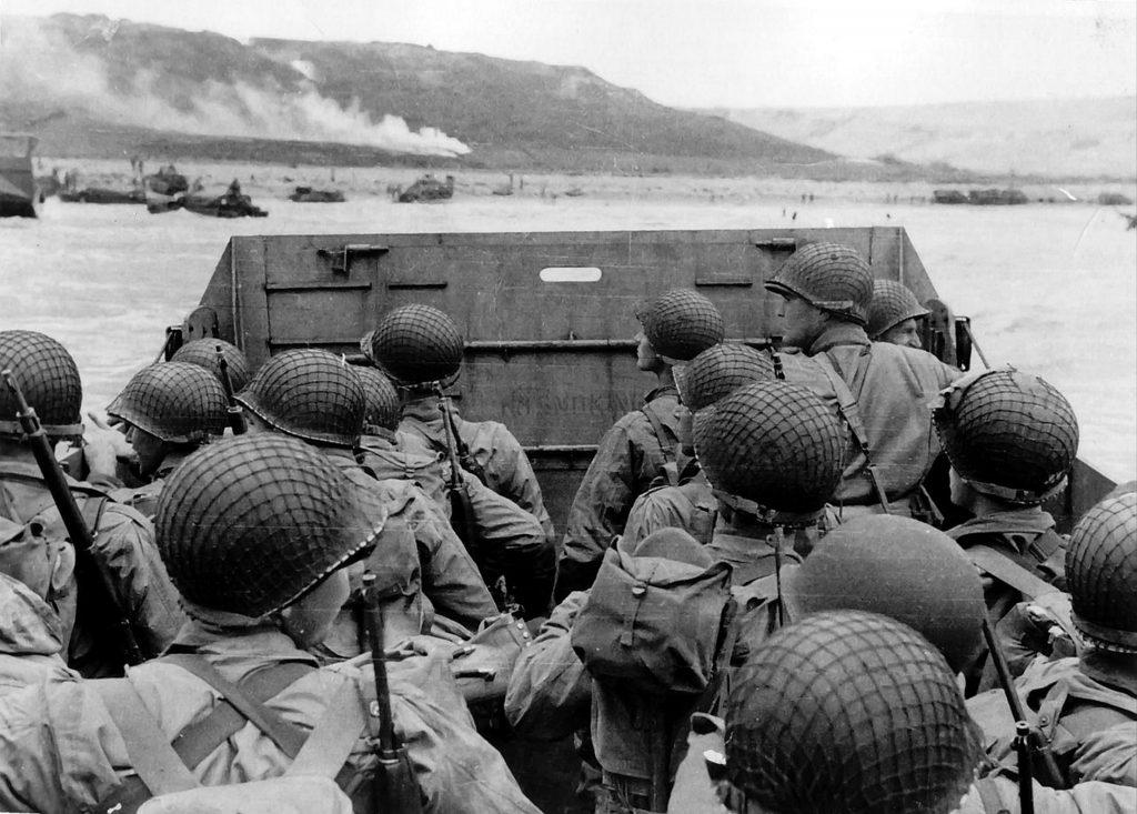 American troops approaching Omaha Beach.