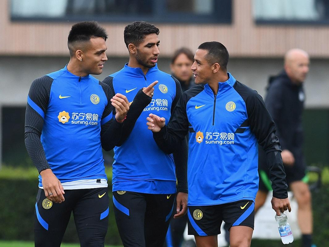 Alexis Sánchez en el entrenamiento de Inter