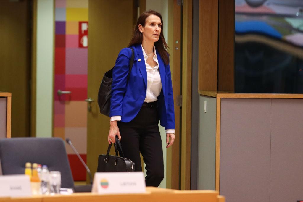 Wilmes ingresando a una cita de ministros europeos