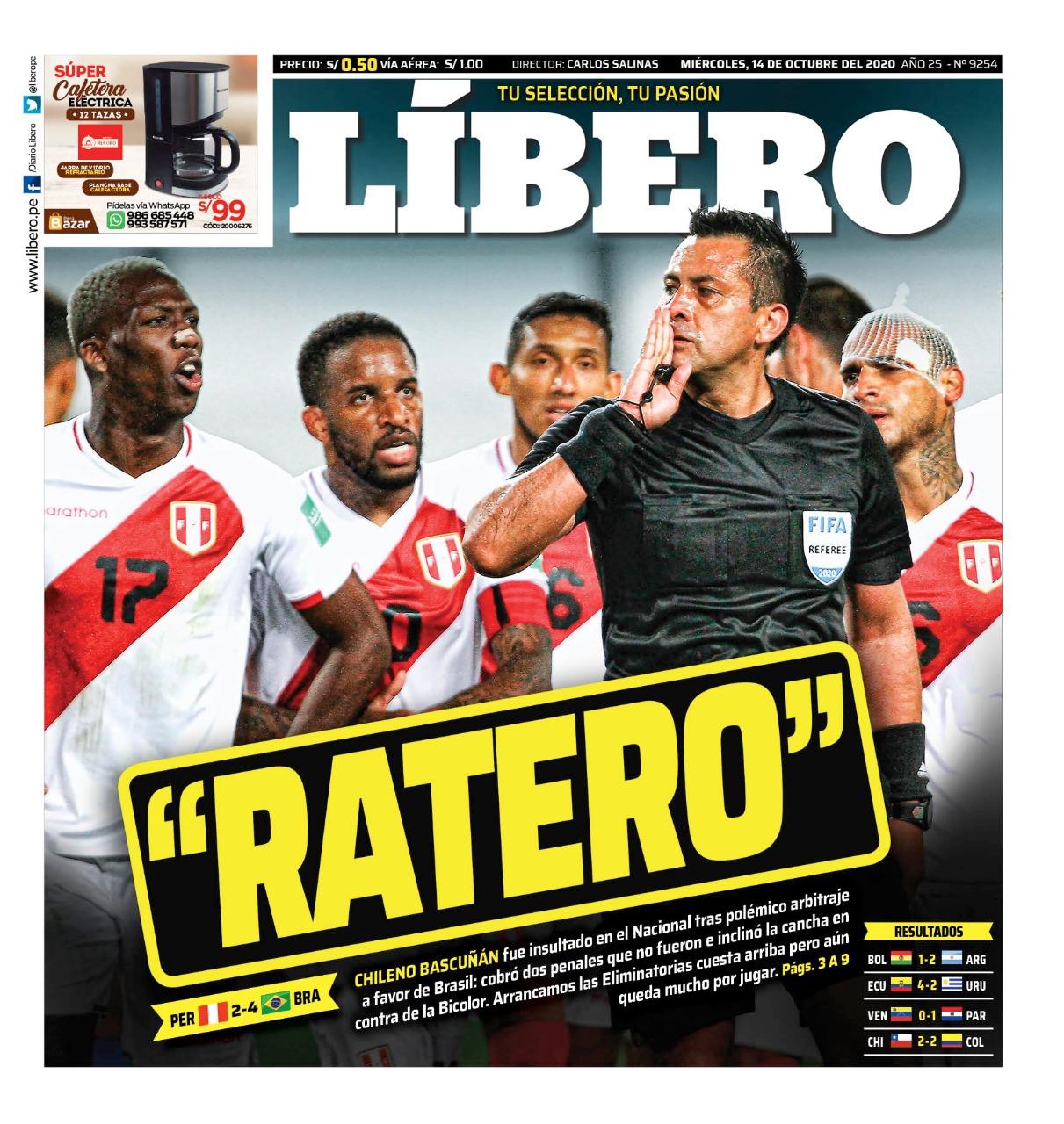 """La prensa peruana reaccionó enfurecida con el arbitraje de Julio Bascuñán y lo calificó de """"Ratero"""""""