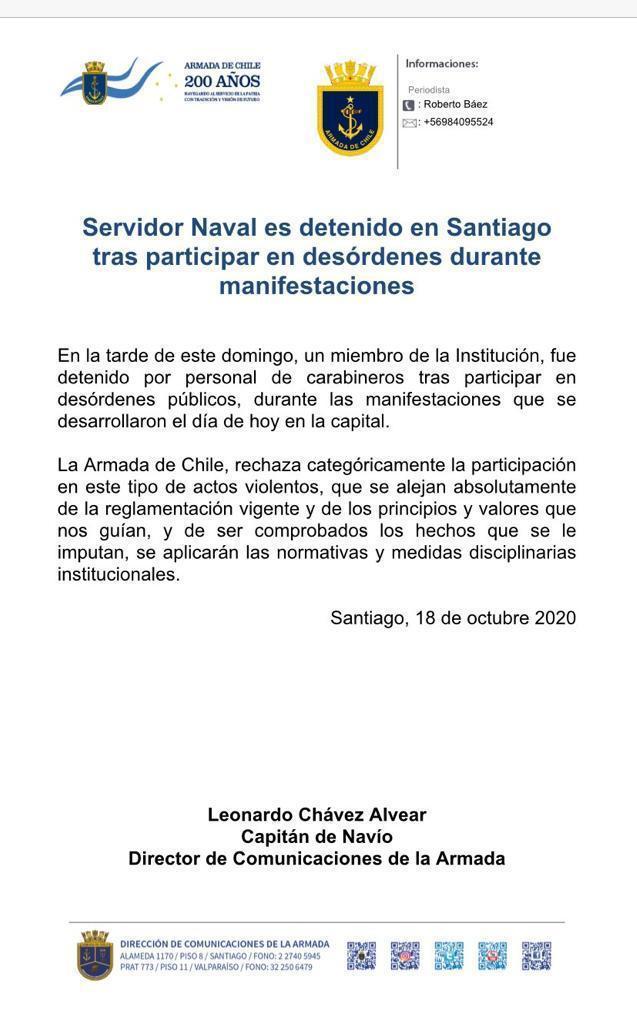 Comunicado de La Armada