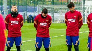 La pena de Messi: Barcelona realizó emotivo minuto de silencio en memoria de Diego Maradona