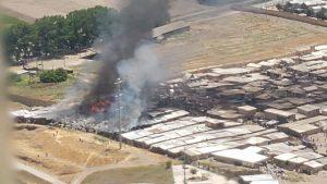 Incendio en campamento de Cerro Navia arrasó con 69 casas de material ligero