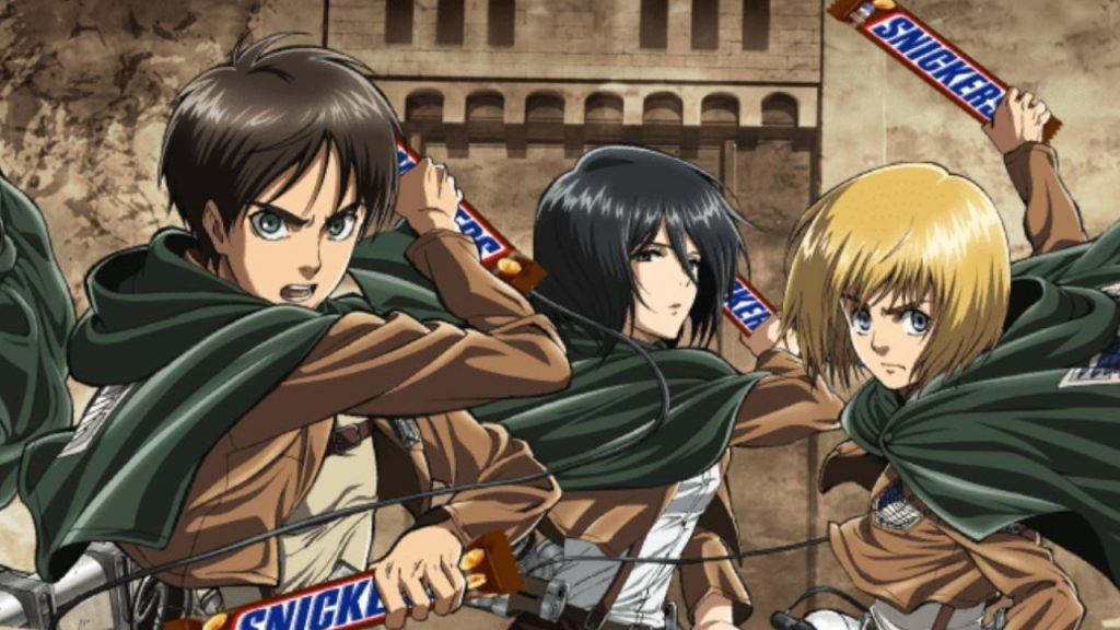 Armin, Mikasa y Eren de SnK son los nuevos protagonistas del comercial japonés de Snickers