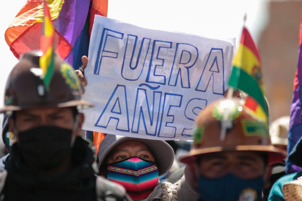 Protesta contra el gobierno interino de Añez en agosto de 2020