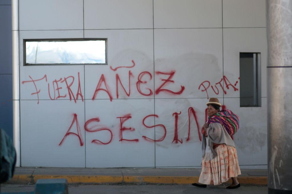 Pintada en contra de Áñez en la ciudad de El Alto