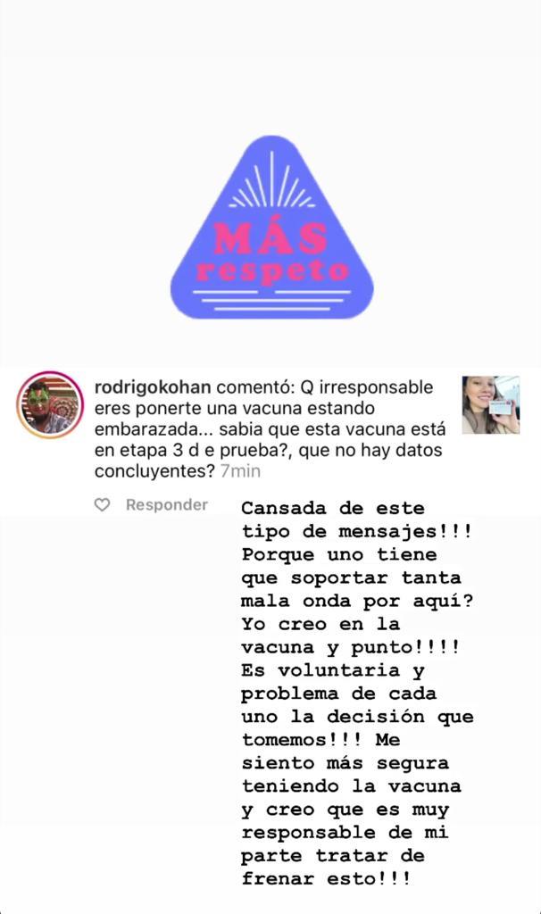 Críticas a Ingrid Parra por vacunarse estando embarazada