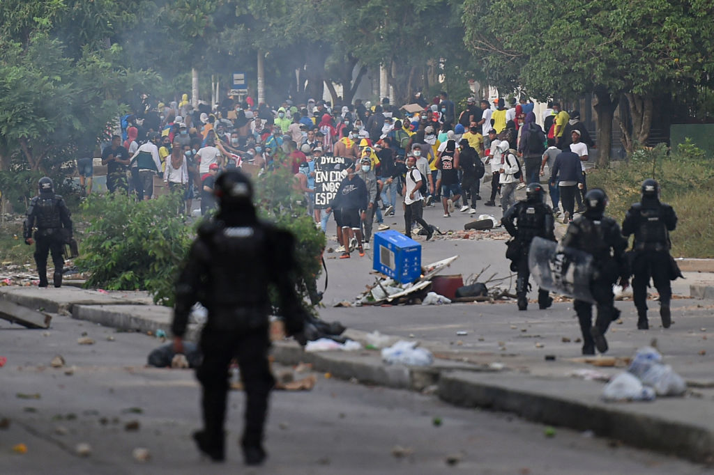 Protesta en Barranquilla durante el partido entre Colombia y Argentina