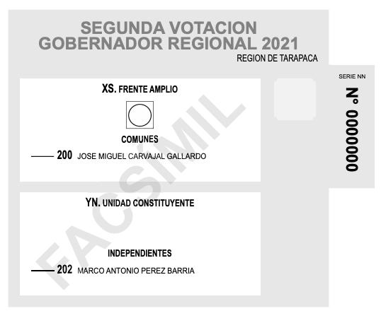 Voto gobernadores regionales Tarapacá