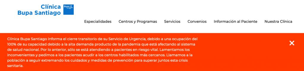 Clínica Bupa Santiago cerró su urgencia