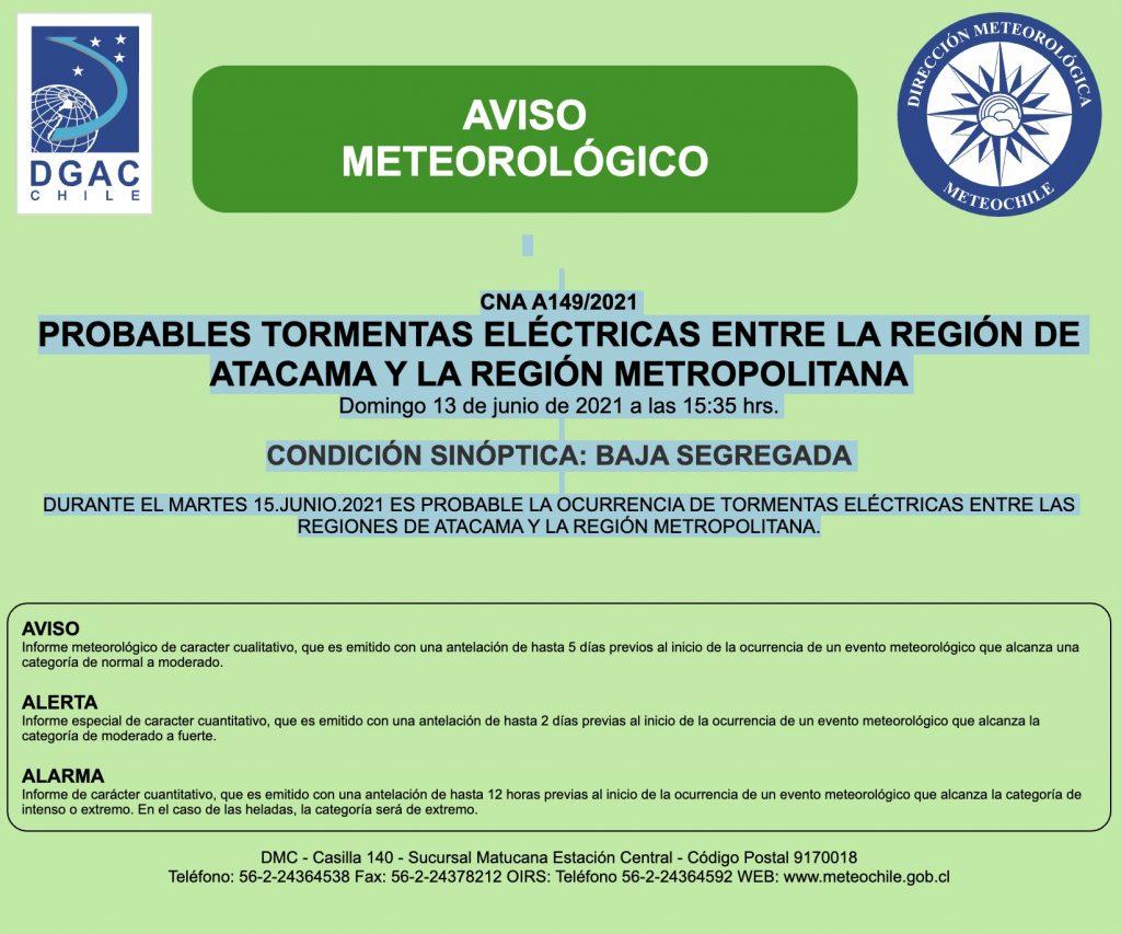 Meteorología emitió aviso de posibles tormentas eléctricas entre regiones de Atacama y Metropolitana