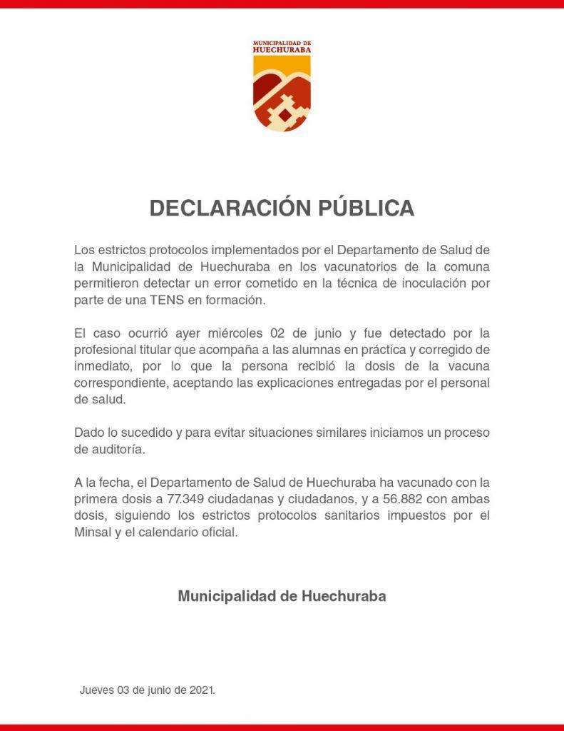 Declaración pública Huechuraba