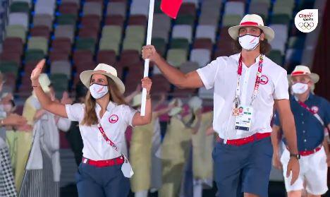 El Team Chile desfiló en la ceremonia inaugural de los Juegos Olímpicos de Tokio