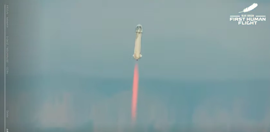 Blue Origin de Jeff Bezos en su primer viaje tripulado