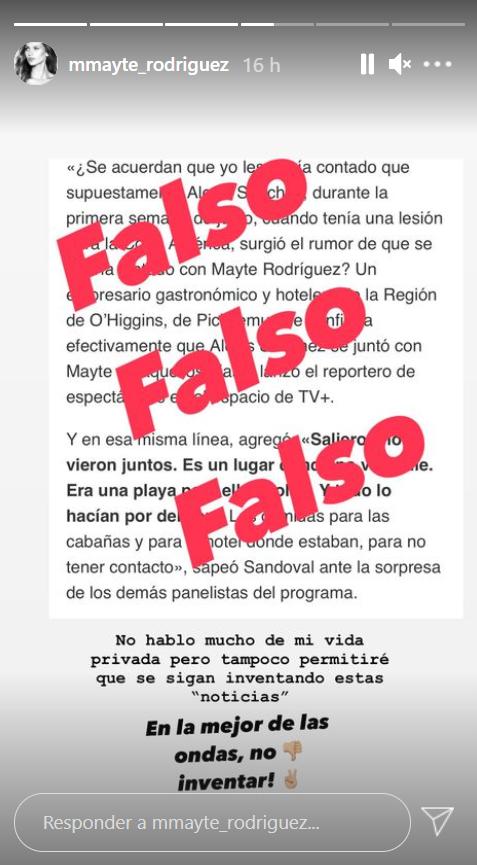 Mayte Rodríguez aclaró rumor sobre Alexis Sánchez