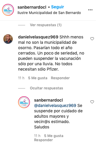 Captura Instagram Municipalidad de San Bernardo