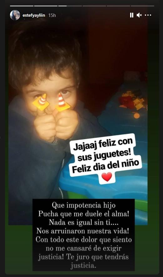 Estefanía Gutiérrez recordó a su hijo en el Día del Niño