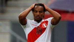 Perú perdió a su goleador André Carrillo para el partido ante Chile por las Clasificatorias Sudamericanas