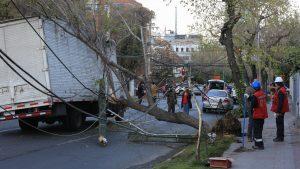 Camión arrasó con cinco postes con cables de telecomunicaciones y electricidad en Providencia: tránsito está suspendido