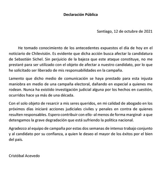 Comunicado de Cristóbal Acevedo