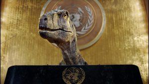 """Dinosaurio increpó a los humanos en la ONU: """"salven su especie antes que sea demasiado tarde"""""""