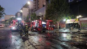 Local de comida rápida terminó completamente quemado y destruido tras manifestaciones del 18-O